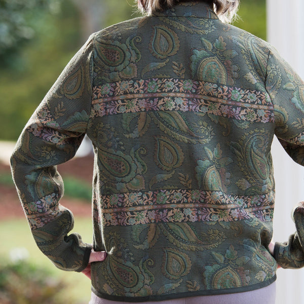 Whistle River Ladies Olive Green Paisley Tapestry Zip-Front Jacket - Back