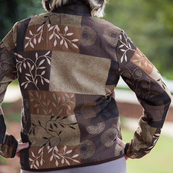 Whistle River Ladies Brown Tapestry Zip-Front Jacket - Back