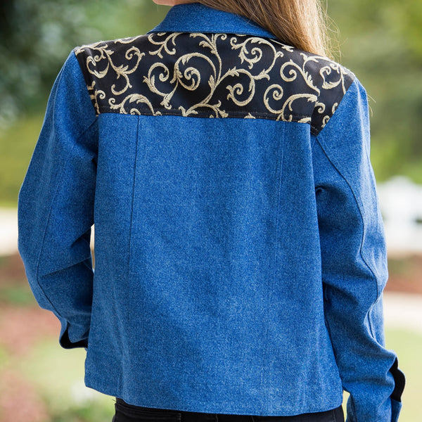 Whistle River Ladies Blue Denim Jacket with Black Scroll Yoke - Back