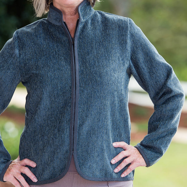 Whistle River Ladies Teal Herringbone Zip-Front Jacket - Front Detail
