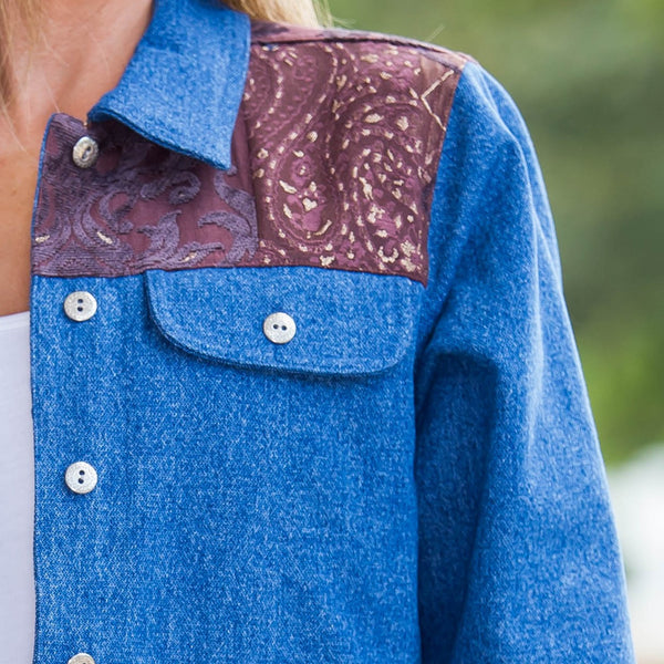 Whistle River Ladies Blue Denim Jacket with Tapestry Yoke - Front Detail