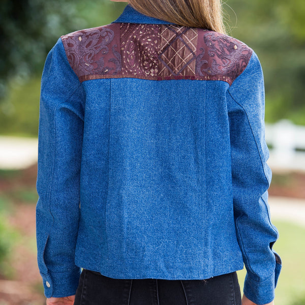 Whistle River Ladies Blue Denim Jacket with Tapestry Yoke - Back