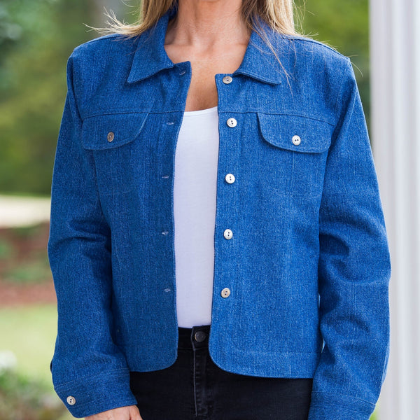 Whistle River Ladies Blue Denim Jacket with Red Fleece Lining - Front Detail