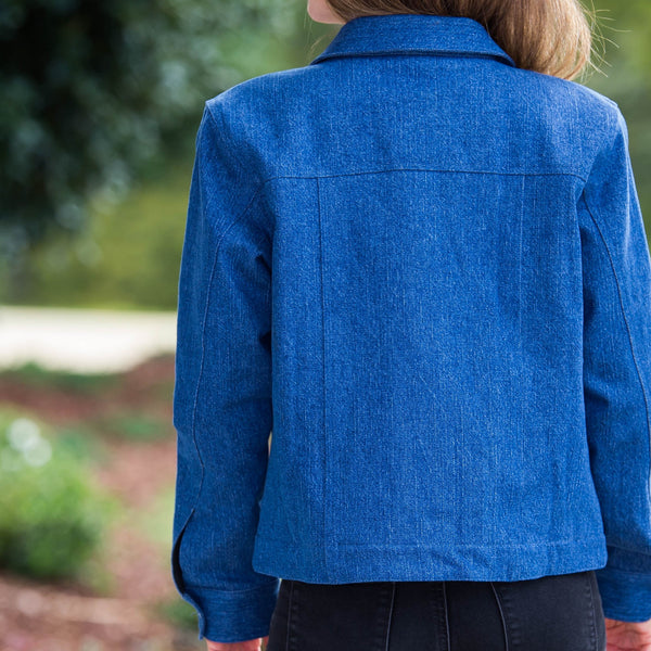 Whistle River Ladies Blue Denim Jacket with Red Fleece Lining - Back