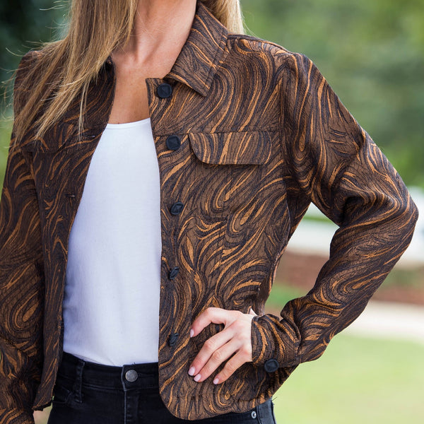 Whistle River Copper Paisley Ladies Jacket - Front Detail