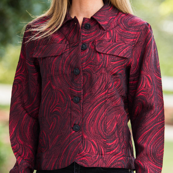 Whistle River Cranberry Paisley Ladies Jacket - Front Detail