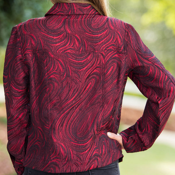 Whistle River Cranberry Paisley Ladies Jacket - Back