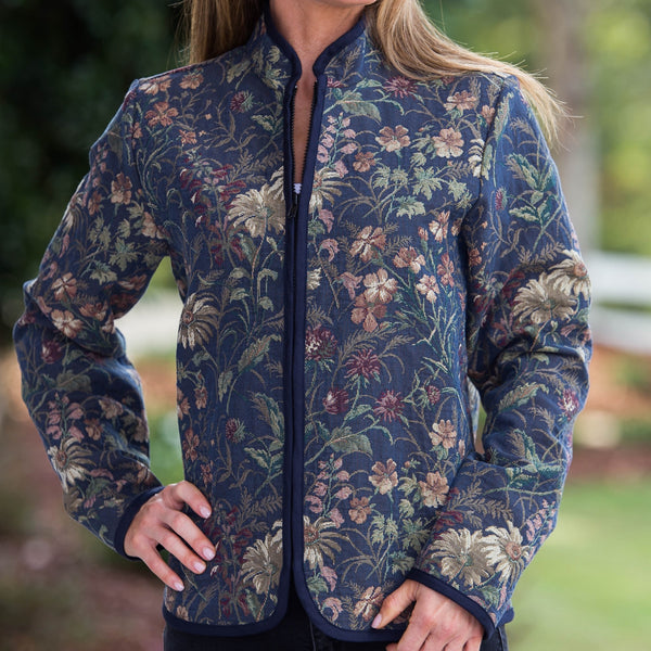 Whistle River Ladies Navy Wildflower Tapestry Zip-Front Jacket - Front Detail
