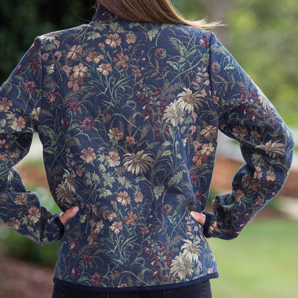 Whistle River Ladies Navy Wildflower Tapestry Zip-Front Jacket - Back