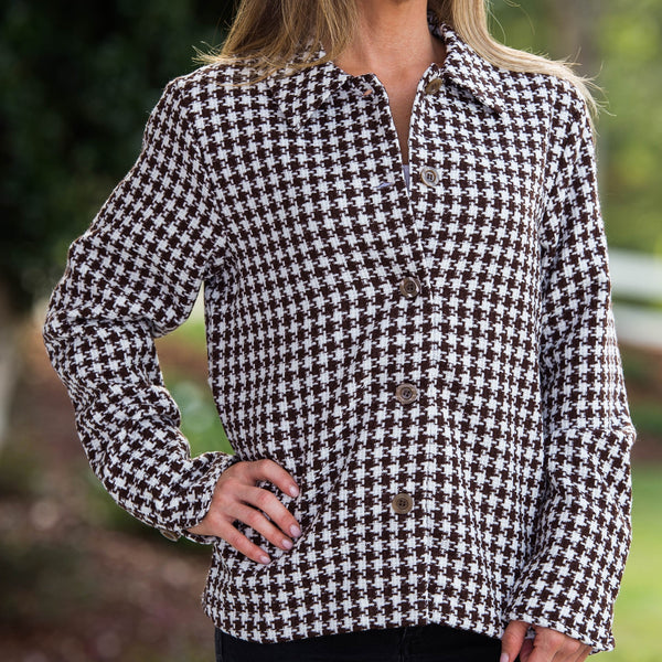 Whistle River Brown Houndstooth Ladies Jacket - Front Detail
