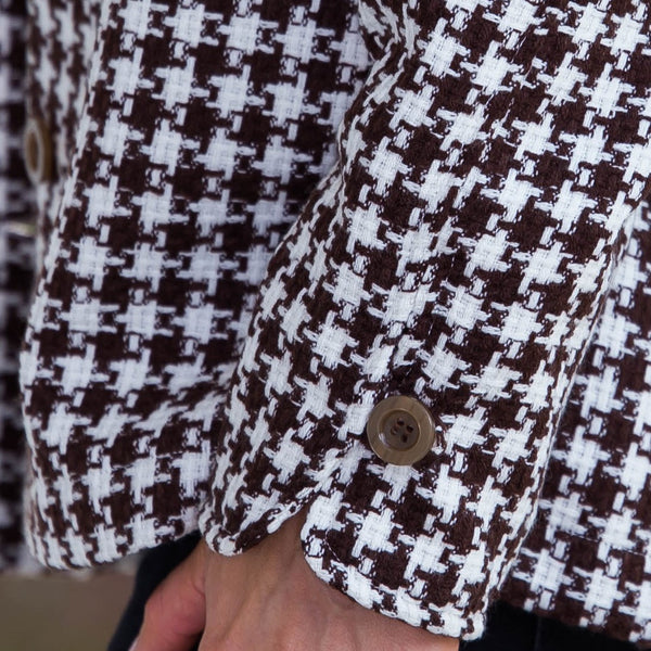 Whistle River Brown Houndstooth Ladies Jacket - Sleeve Cuff