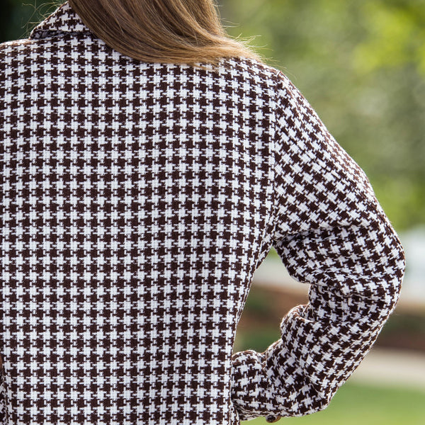Whistle River Brown Houndstooth Ladies Jacket - Back Detail
