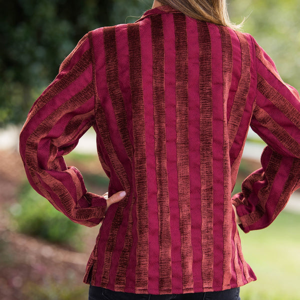 Whistle River Ladies Velour Burgundy Striped Jacket - Back
