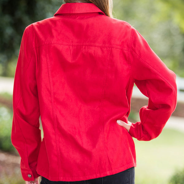 Whistle River Ladies Red Pleated Jacket - Back
