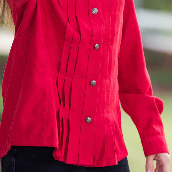 Whistle River Ladies Red Pleated Jacket - Front Detail