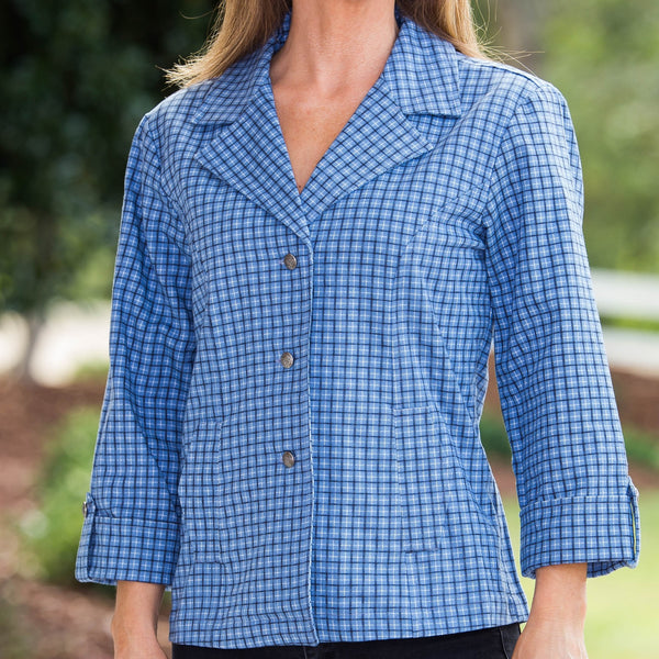 Whistle River Ladies Blue Plaid Fitted Jacket - Front Detail