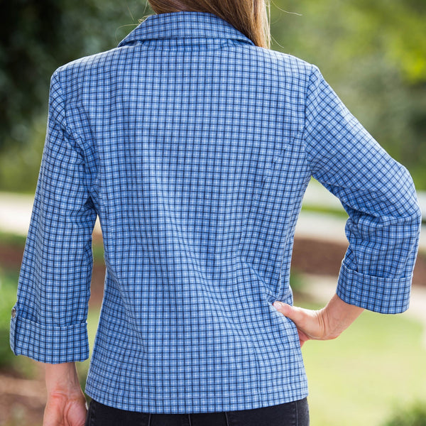 Whistle River Ladies Blue Plaid Fitted Jacket - Back
