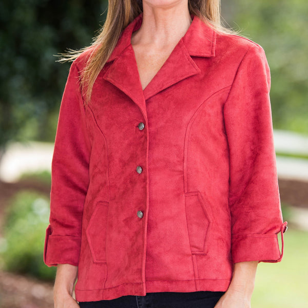Whistle River Ladies Red Fitted Faux Suede Jacket - Front Detail