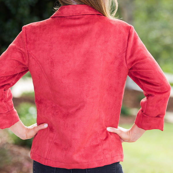 Whistle River Ladies Red Fitted Faux Suede Jacket - Back