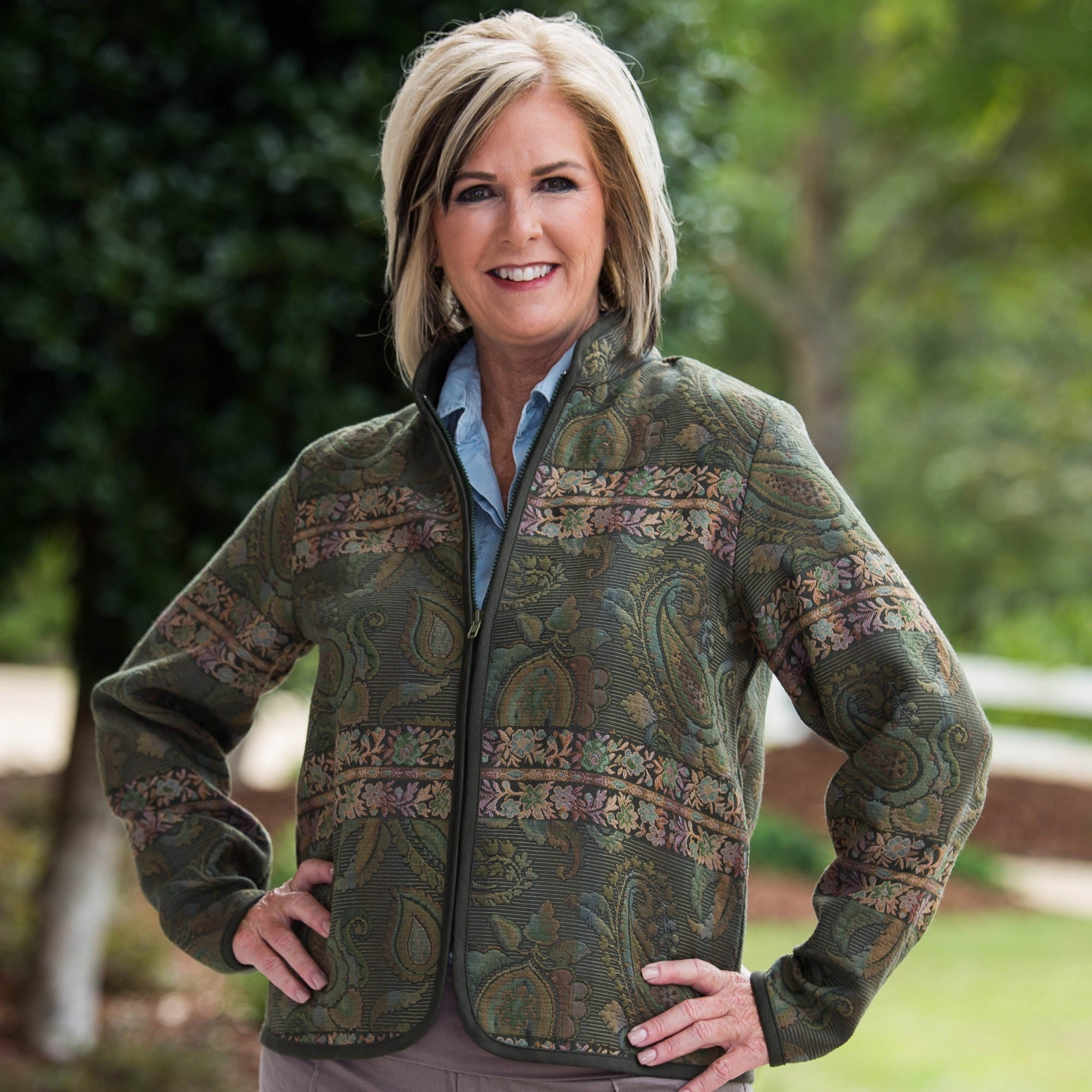 Whistle River Ladies Olive Green Paisley Tapestry Zip-Front Jacket - Front