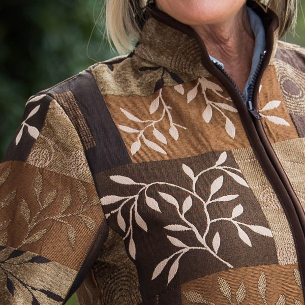 Whistle River Ladies Brown Tapestry Zip-Front Jacket - Front Detail