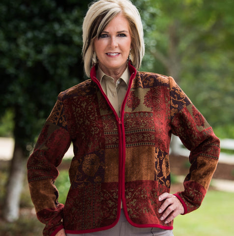 Whistle River Ladies Burgundy Tapestry Zip-Front Jacket - Front
