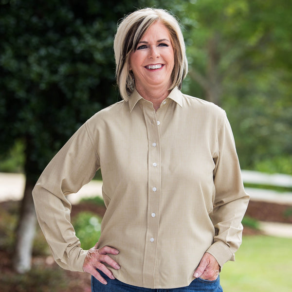 Whistle River Ladies Khaki Long Sleeve Button Up Blouse - Front
