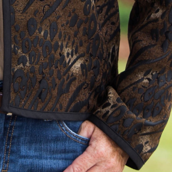 Whistle River Ladies Brown Animal Print Jacket - Sleeve Cuff