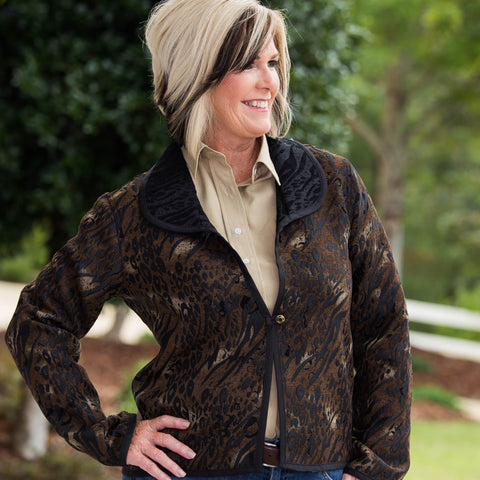 Whistle River Ladies Brown Animal Print Jacket - Front