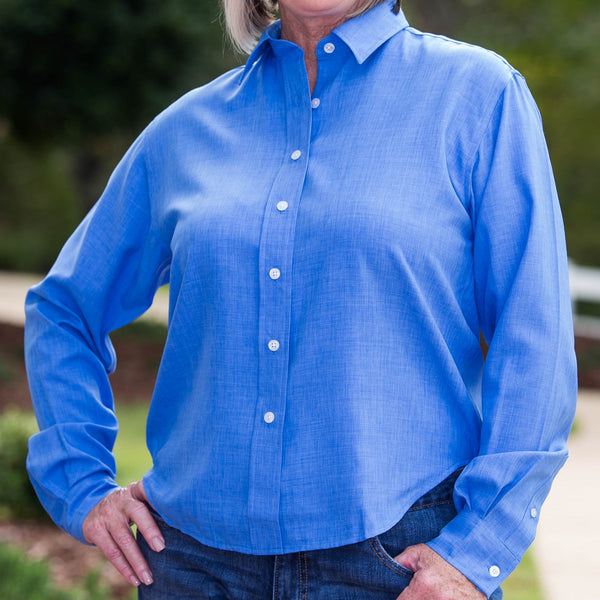 Whistle River Ladies Blue Long Sleeve Button Up Blouse - Front Detail