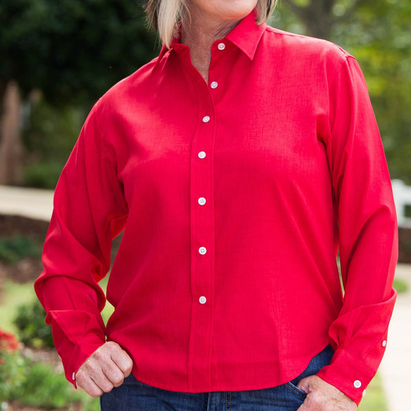 Whistle River Red Ladies Long Sleeve Button Up Blouse - Front Detail