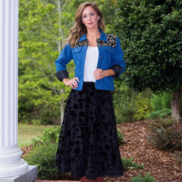 Whistle River Velvet Burnout Skirt with Colorado Denim Jacket