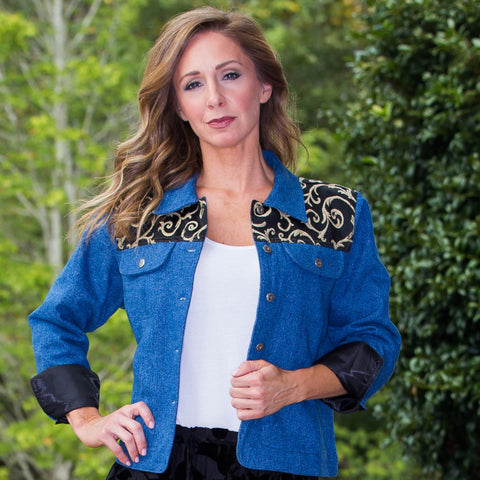 Whistle River Ladies Blue Denim Jacket with Black Scroll Yoke - Front