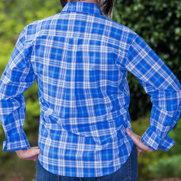 Whistle River Diagonal Placket Blouse Blue Plaid