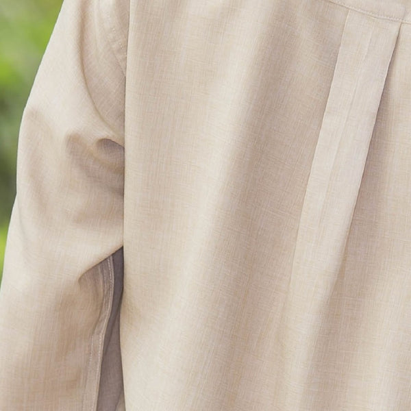 Whistle River Ladies Khaki Long Sleeve Button Up Blouse - Fabric Detail