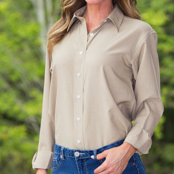Whistle River Ladies Khaki Long Sleeve Button Up Blouse - Front Detail