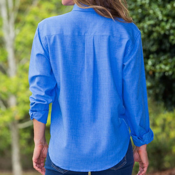 Whistle River Ladies Blue Long Sleeve Button Up Blouse - Back