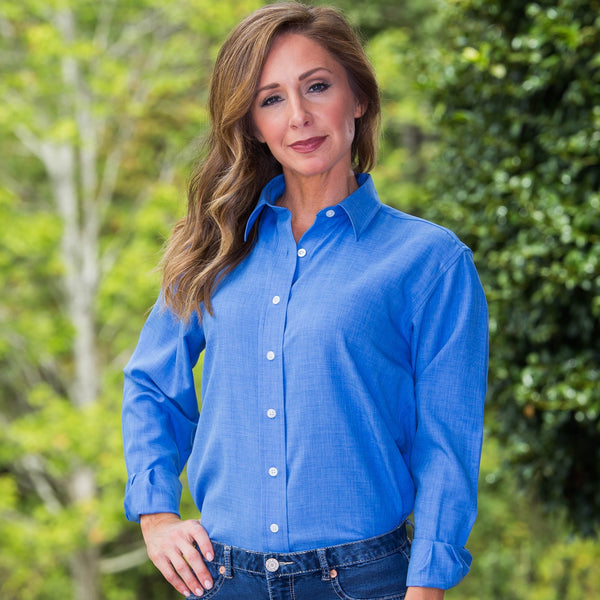 Whistle River Ladies Blue Long Sleeve Button Up Blouse - Front
