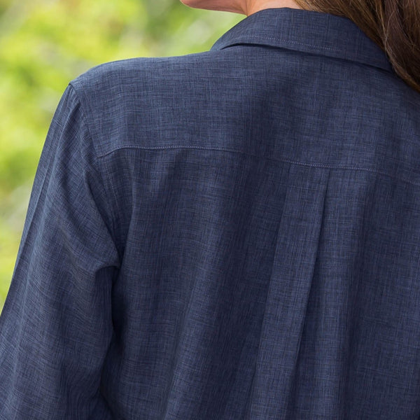 Whistle River Charcoal Ladies Long Sleeve Button Up Blouse - Fabric Detail