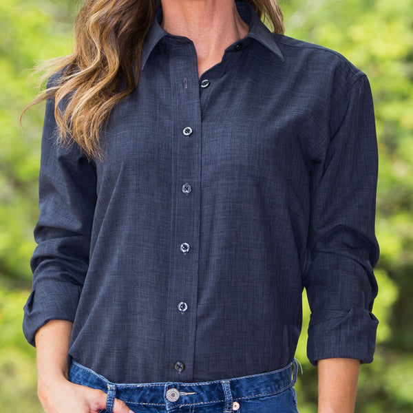 Whistle River Charcoal Ladies Long Sleeve Button Up Blouse - Front Detail