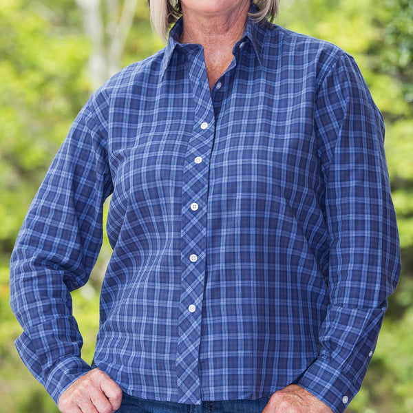Whistle River Diagonal Placket Blouse Navy Plaid