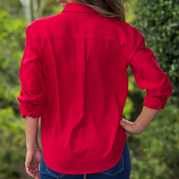Whistle River Red Ladies Long Sleeve Button Up Blouse - Back