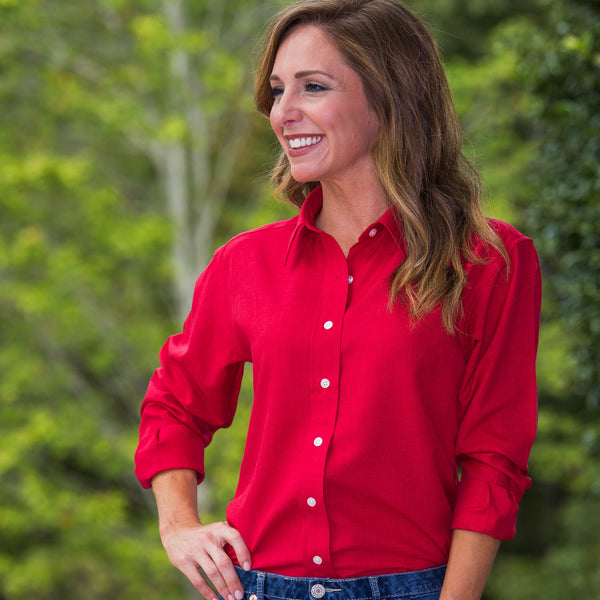 Whistle River Red Ladies Long Sleeve Button Up Blouse - Front