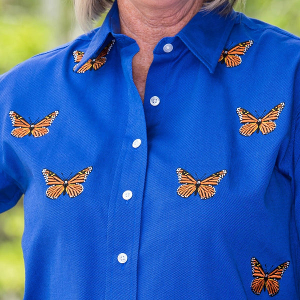 Whistle River Blue Button Up Embroidered Butterfly Blouse - Close Up