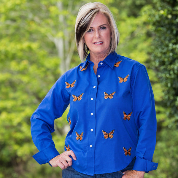 Whistle River Blue Button Up Embroidered Butterfly Blouse - Front