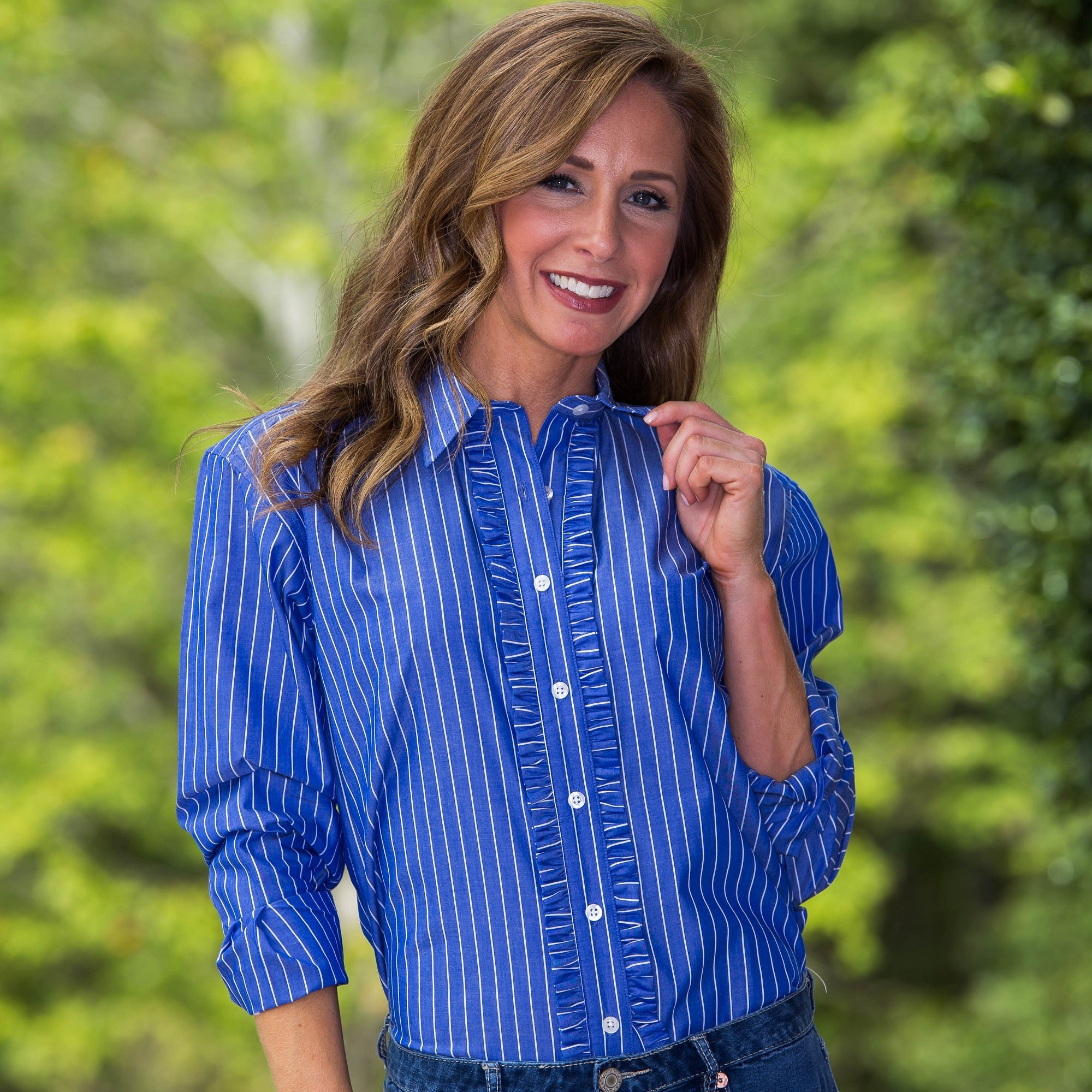 Whistle River Ruffle-Front Blouse Blue Stripe