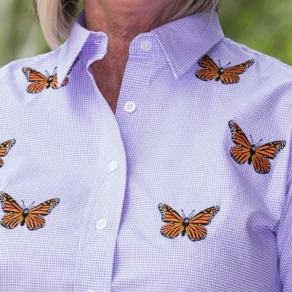 Whistle River Lilac Button Up Embroidered Butterfly Blouse - Close Up
