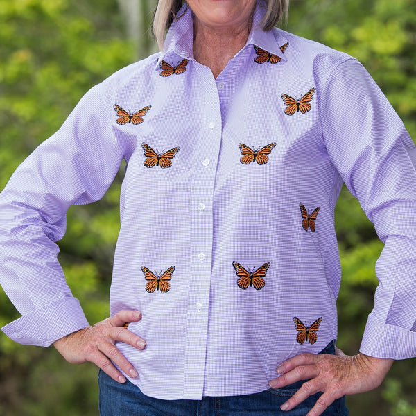 Whistle River Lilac Button Up Embroidered Butterfly Blouse - Front Detail