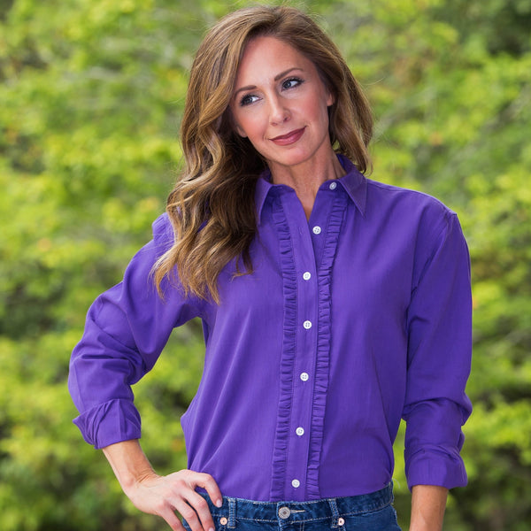 Whistle River Ruffle-Front Blouse Purple