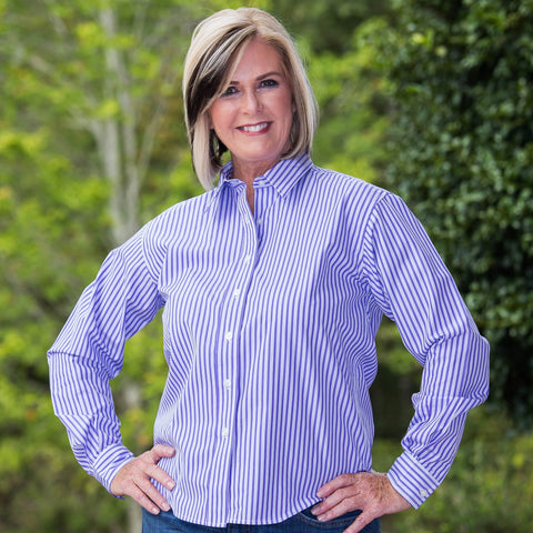 Whistle River Ladies Purple Stripe Long Sleeve Button Up Blouse - Front